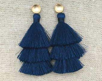 Grace Navy Earrings, Navy Blue Tassel Earrings, Blue Earrings, Navy Earrings,Tassel Drop Earrings, Brushed Gold Connector,Bridal, Weddings,