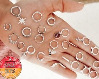 Silver Hoop Earrings Huggies, Charm Hoops, Bali Design 925 Hallmarked - 925 Silver Earrings UK - 10mm -14mm Hoop Earrings - FREE UK Shipping
