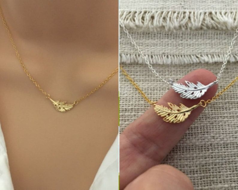 Bridesmaid Nature Birthday Everyday Simple Wedding Little Gold Leaf Necklace  Tiny Gold Necklace Minimal Layering Choker Necklace