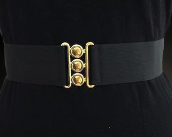 "2"" Elastic Solid Black Belt with Gold Closure"