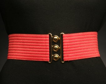Red Elastic Belt with Gold Stripes