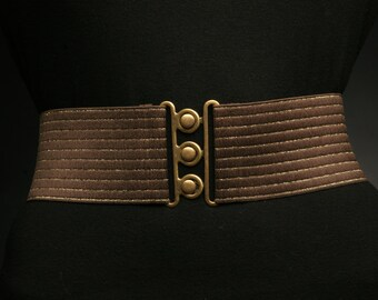 Brown elastic belt with Gold stripes