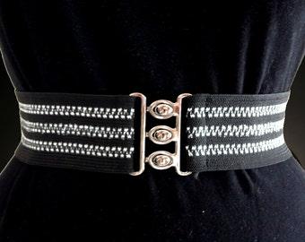Black Elastic Belt with Silver Stripes