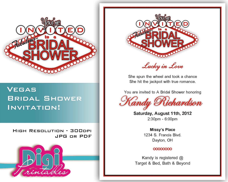 Bridal Shower Invitation Las Vegas Digital Download DIY | Etsy
