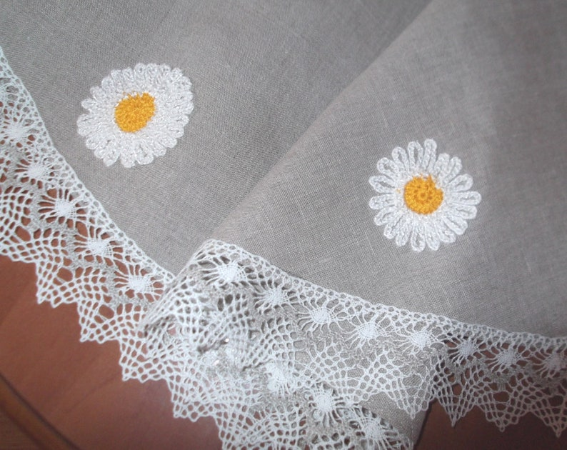 Small Round Table Cloths.Small Round Flax Tablecloth Organic Gray Washed Linen Table Cloth With Lace Tea Time Table Topper With Crocheted Daisies