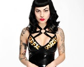 Faye Leopard Print Latex Dress with O-Ring Harness - Pandora Deluxe