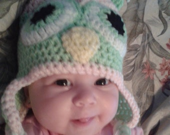 Bright Eyed Owl Crochet Hat - Made To Order