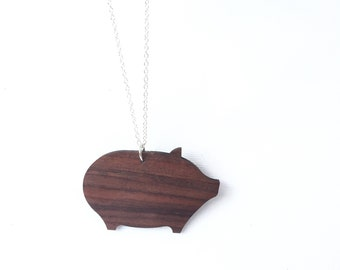 Wood Pig Necklace: rosewood animal jewelry