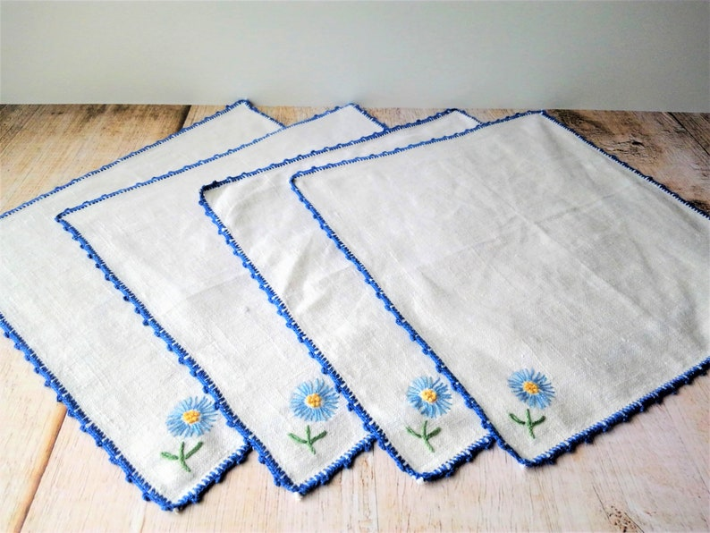 Embroidered Floral Luncheon Napkins Blue Yellow Flowers Ivory Linen Vintage Set of 4