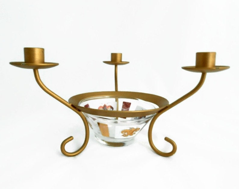 Gold Candelabra with 3 Arms and Glass Flower Bowl Insert ...