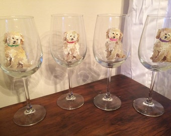 Hand Painted Wine Glasses/ Dog