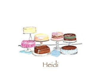 Retro Cakes Note Cards, Personalized Stationery