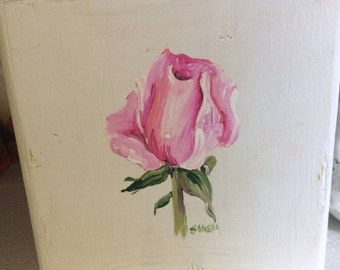 Hand Painted Rosebud/ wooden block