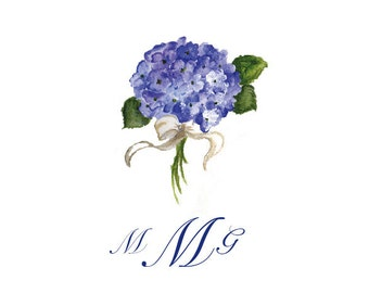 Hydrangea Note Cards, Personalized Stationery