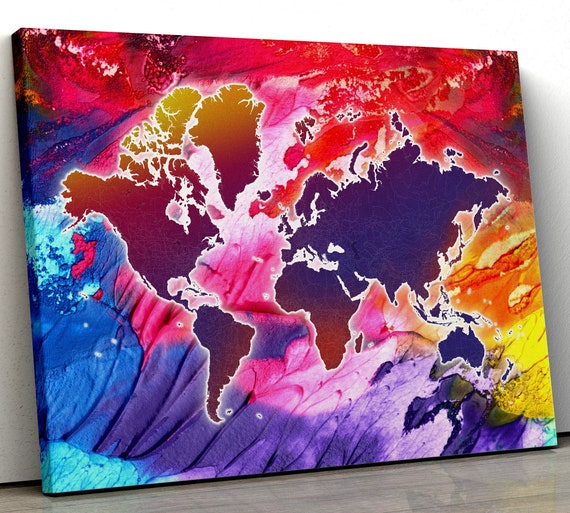 Colorful World Map Art.Colorful World Map Canvas Watercolor World Map Rainbow World Etsy