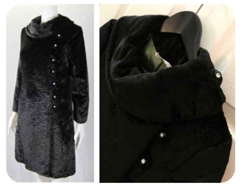 1960s Vintage Faux Fur Black I MAGNIN coat RHINESTONE BUTTONS