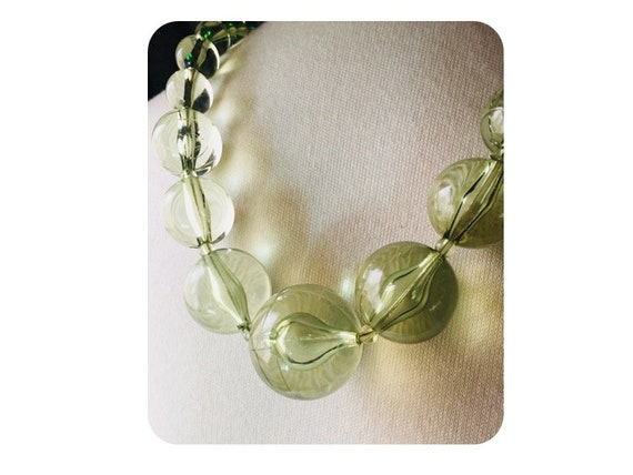 Lucite Pools of Light Necklace Earrings Set Vintag