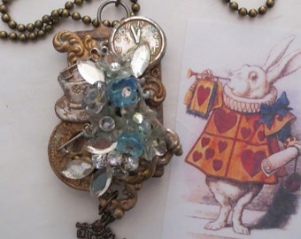 White Rabbit Necklace, Soldered Pendant, Alice in Wonderland, One of a Kind, Assemblage Necklace, White Rabbit