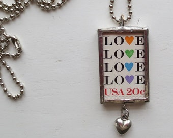 Postage Stamp Necklace, 1984, Love Postage Stamp, Postage Stamp, Soldered Postage Stamp, Soldered Pendant, Heart Charm, Handmade