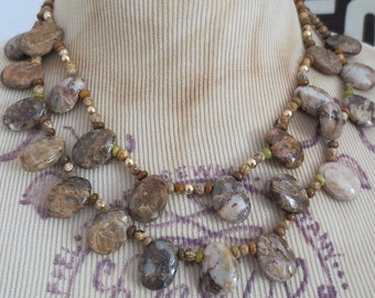 Agate Double Strand Necklace, Amber Honey Sand Agates, Semiprecious Stones, Bohemian Necklace