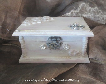 French, Painted Jewelry Box, Shabby Chic, Wood, Jewelry Box, Hand Painted, Toile, Decoupage, Roses, Handmade