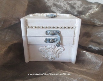 French, Painted Jewelry Box, Shabby Chic, Wood, Jewelry Box, Hand Painted, Toile, Decoupage, Handmade