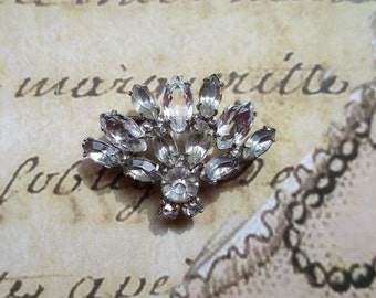 French Brooch Sterling Silver .925 Cubic Zirconia Rhinestone Cluster Vintage 1960s french gift bag & box included