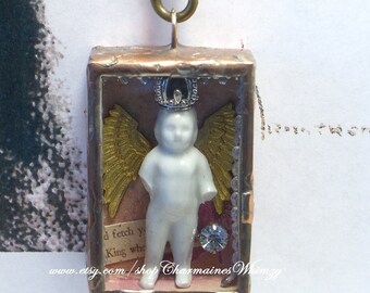 Queen Charlotte Angel Pendant Soldered Shadowbox Rosary Chain Frozen Charlotte Handmade