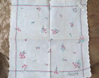 Jean D'Orly, Designer Signed, Paris, Handkerchief, French, Hanky