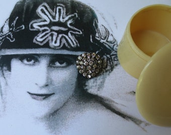 French Brooch, 1830's, Celluloid Box, Art Deco, 1920's, 2 Items, Antiques