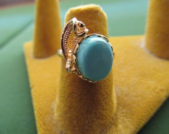 """1363 - 1/2"""" x 1/2"""" Vintage Setting 1980's Natural OS Turquoise with Hamilton Gold Plated Filigree Adjustable Ring"""