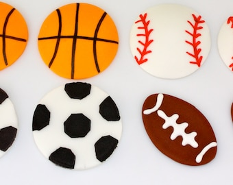 SPORTS FAN -  Fondant Cupcake, and Cookie Toppers - 1 Dozen