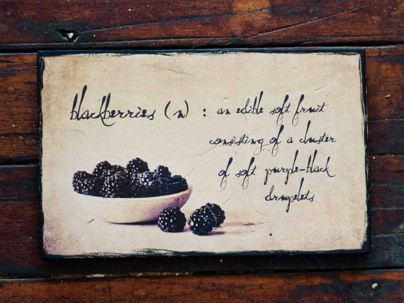 wood sign blackberry photo on wood kitchen wall art food etsy rh etsy com