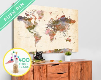 World map pin board etsy large world map canvas pin board watercolor terra vintage countries capitals gift idea gumiabroncs Image collections