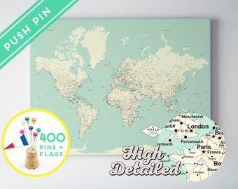 Etsy your place to buy and sell all things handmade custom push pin world map canvas classic design ready to hang high detailed 240 pins 198 world flag sticker pack included gumiabroncs Choice Image
