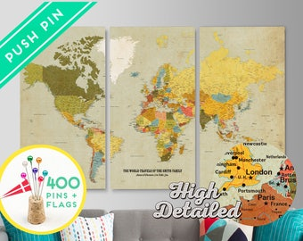 World map canvas etsy travel gift personalized world map canvas push pin map holiday sale christmas gift ideas 240 pins 198 world flag sticker free shipping gumiabroncs Image collections
