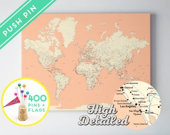 Etsy your place to buy and sell all things handmade push pin world map canvas pink color ready to hang high detailed 240 pins 198 world flag sticker pack included gumiabroncs Images
