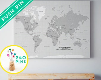 Capitals world map etsy custom large world map canvas gray color countries capitals usa and canada states personalized gift idea pin it map 240 pins gumiabroncs Choice Image