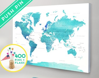 World map with pins etsy push pin world map canvas world map watercolor blue countries world map with pins pin it map pin it adventures gift idea 240 pins gumiabroncs Images
