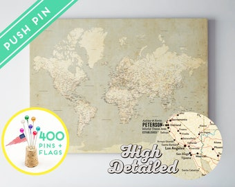 World map push pin canvas etsy customized world map push pin canvas vintage high detailed ready to hang 240 pins 198 world flag sticker pack included gumiabroncs Images