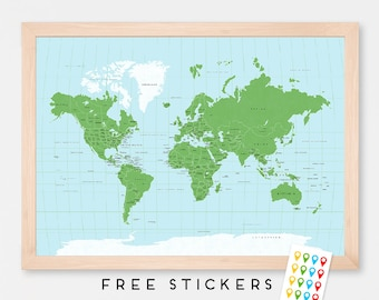 Capitals world map etsy world map art print poster green and blue world map countries capitals usa and canada states travel map world map gumiabroncs Image collections