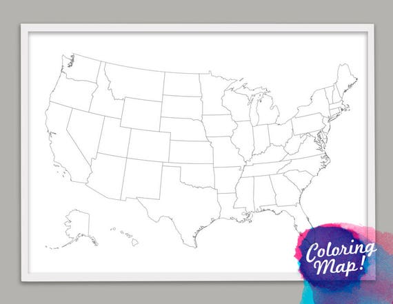United States Coloring Print Alaska & Hawaii Outline | Etsy
