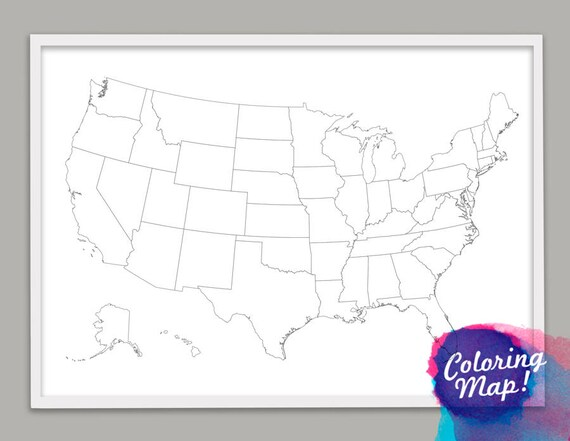 United States Coloring Print - Alaska & Hawaii - Outline United States Map  - Travel map - Wall Hanging - Large - Medium Size
