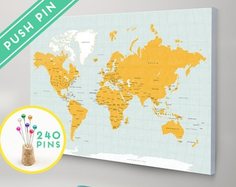 Push pins world map canvas watercolor gold countries world map canvas with pins orange and blue colors countries capitals usa and canada states push pin travel map pin it map 240 pins gumiabroncs Choice Image