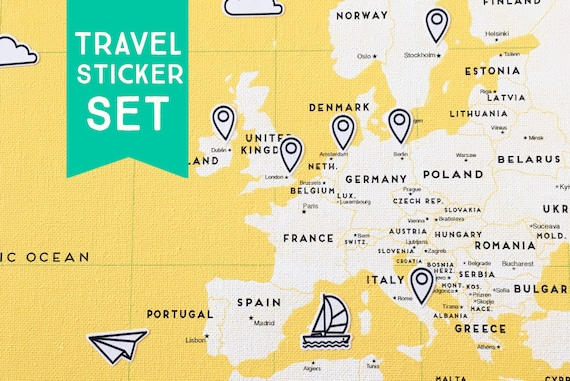 82 sticker set push pin world travel map trip planning map of 82 sticker set push pin world travel map trip planning map of the world world map stickers road trip from macanaz on etsy studio gumiabroncs Images