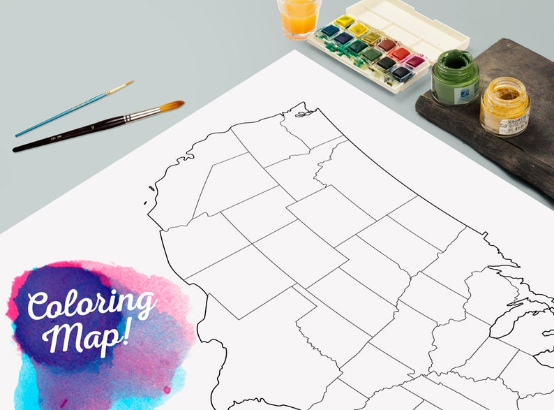 United States Blank Coloring Print Poster Outline United Etsy