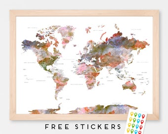 World map poster etsy popular items for world map poster gumiabroncs Gallery