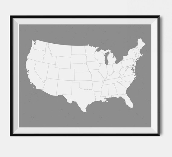 United States Gray Map - Custom Color - United States Map, Gray Color,  Trending Item -