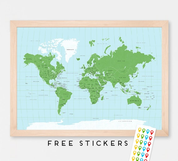 World Map Art Print Poster - Green and Blue World Map - Countries -  Capitals - USA and Canada States - Travel Map World Map -