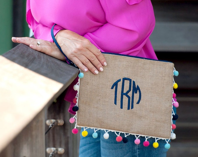 Monogrammed Clutch, Multi Colored Pom Pom Clutch, Bridesmaid Clutch, Purse, Bridesmaid Purse, Group Discounts